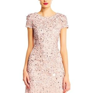Adrianna Papell Scoop back sequins gown in bush